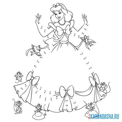 Print a coloring book cinderella with birds on A4