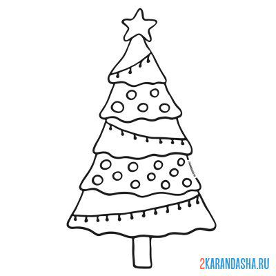 Print a coloring book christmas tree on A4