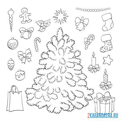 Print a coloring book christmas tree with toys on A4