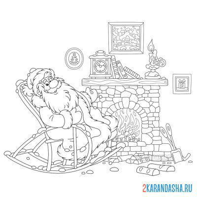 Print a coloring book santa claus by the fireplace on A4