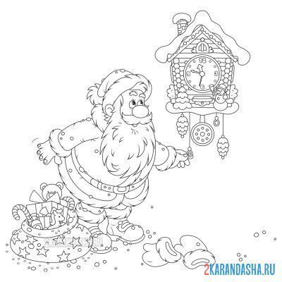 Print a coloring book santa claus about hours on A4