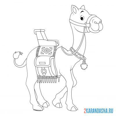 Print a coloring book camel with a cape on A4