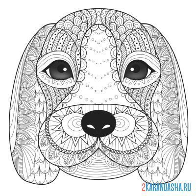 Print a coloring book cute dog on A4