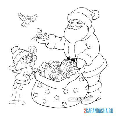 Print a coloring book santa claus and bunny with birds on A4