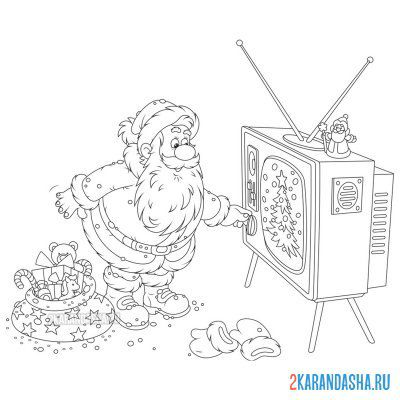 Print a coloring book santa claus for new year on A4