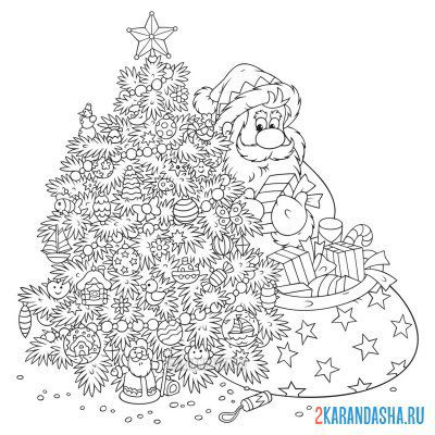 Print a coloring book santa claus at the christmas tree with gifts on A4