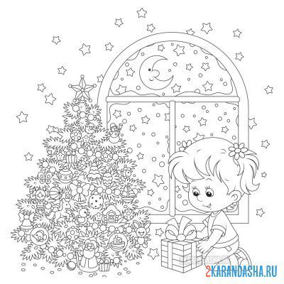 Print a coloring book girl at the christmas tree on A4