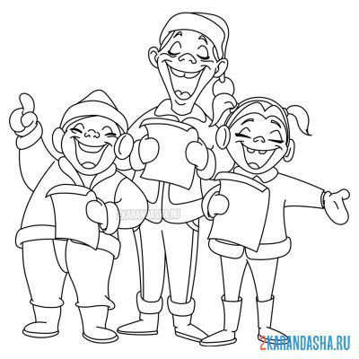 Print a coloring book people sing a new year song on A4