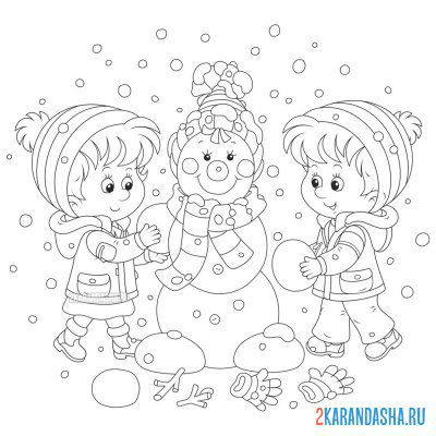Print a coloring book children make a snowman on A4