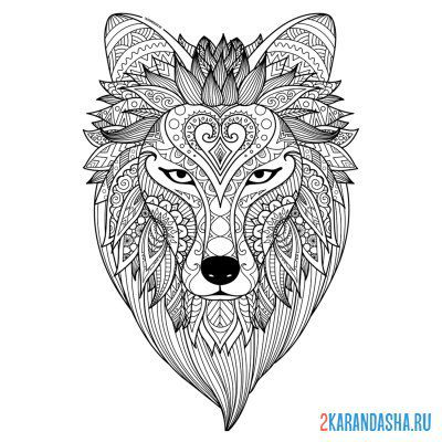 Print a coloring book wild wolf head on A4
