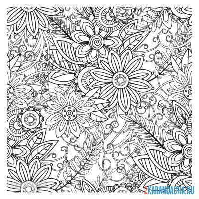 Print a coloring book different flowers on A4