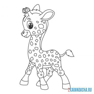 Print a coloring book giraffe smiling cute on A4