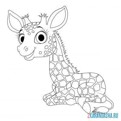 Print a coloring book giraffe resting on A4