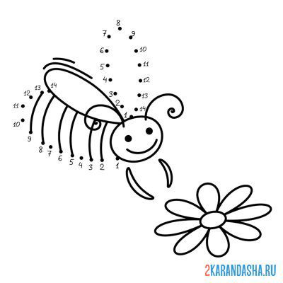 Print a coloring book bee with a flower on A4