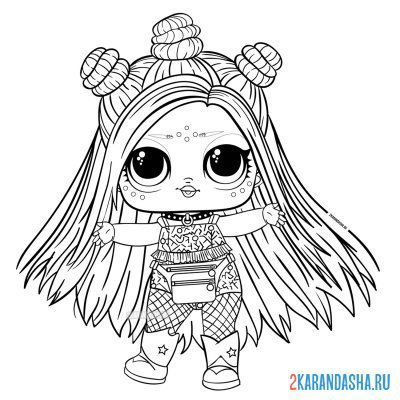 Print a coloring book lol doll with long colored hair electro on A4