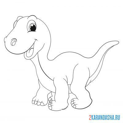 Print a coloring book clubfoot dinosaur on A4