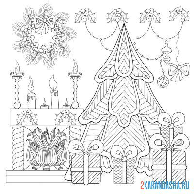 Print a coloring book christmas tree and gifts on A4