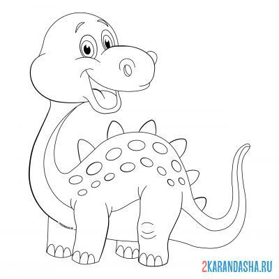 Print a coloring book smiling dinosaur on A4