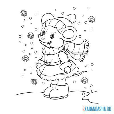 Print a coloring book winter animal mouse with snowflakes on A4