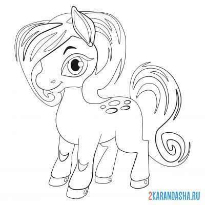 Print a coloring book pony with a pink mane on A4