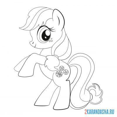 Print a coloring book my little pony minty on A4