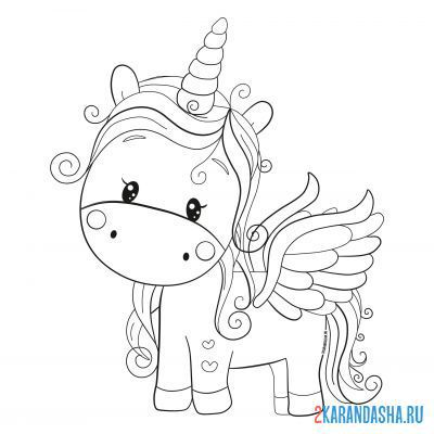 Print a coloring book unicorn with wings on A4