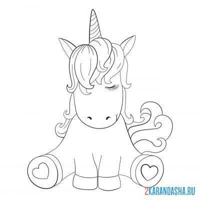 Print a coloring book cute unicorn with colored hair on A4