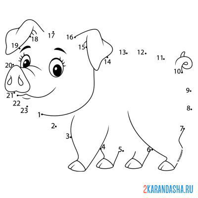 Print a coloring book piglet on A4