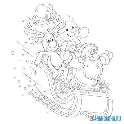 Print a coloring book santa claus and christmas reindeer on A4