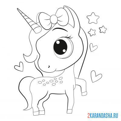 Print a coloring book unicorn with a bow on his head on A4