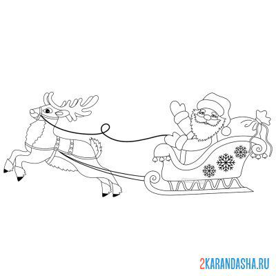 Print a coloring book new year's santa claus in harness with a deer on A4