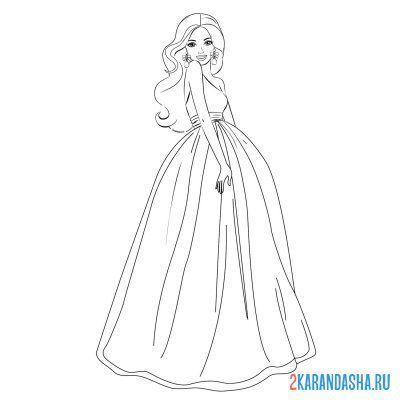 Раскраска Барби в красивом вечернем платье для девочек ...