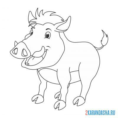Print a coloring book mischievous boar on A4