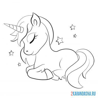 Print a coloring book beautiful unicorn sleeping on A4