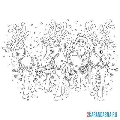 Print a coloring book santa claus on deer on A4