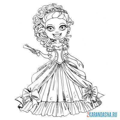 Раскраска модная принцесса селфи для девочек распечатать