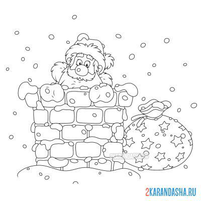 Print a coloring book santa claus in a pipe with a gift on A4