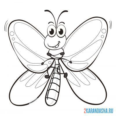 Print a coloring book sly butterfly on A4