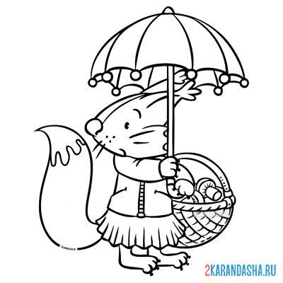 Print a coloring book squirrel with mushrooms under an umbrella in autumn on A4