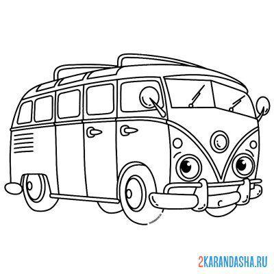Распечатать раскраску Маленький ретро автобус для ...