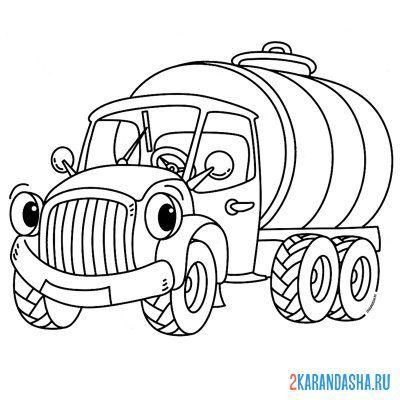 Print a coloring book milk truck on A4