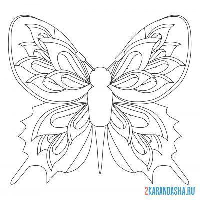 Print a coloring book butterfly with a fan on A4
