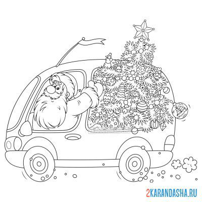 Print a coloring book santa claus with christmas tree on A4