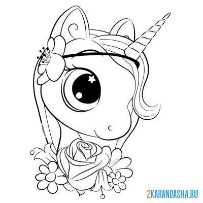 Print a coloring book beautiful unicorn for girls on A4