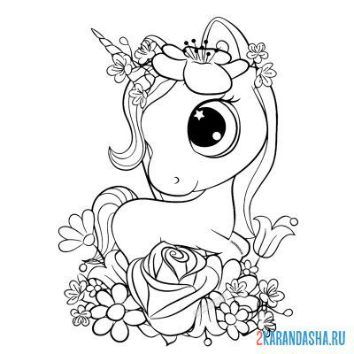 Print a coloring book unicorn girl in flowers on A4