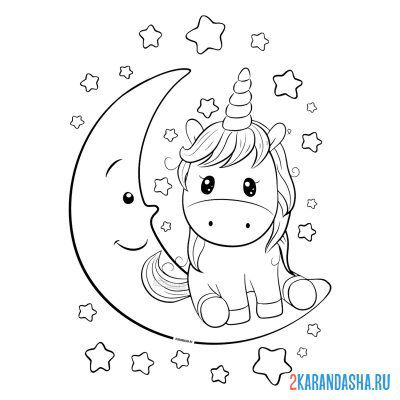 Print a coloring book unicorn on the moon on A4