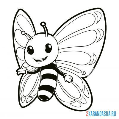 Print a coloring book smiling butterfly on A4