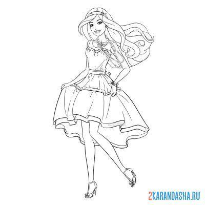 Raskraska Barbi Kukla V Dlinnom Plate Dlya Devochek Raspechatat Barbie
