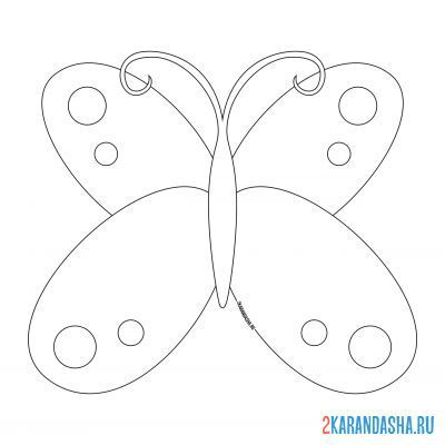 Print a coloring book butterfly with circles on the wings on A4