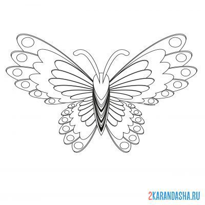 Print a coloring book unusual butterfly on A4